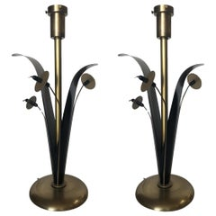 Pair of Midcentury Brass and Black Metal Willow Table Lamps