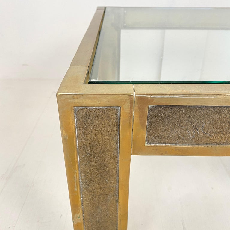 Pair of Mid-Century Brass and Glass Sofa Tables or Coffee Tables by Ghyczy For Sale 4