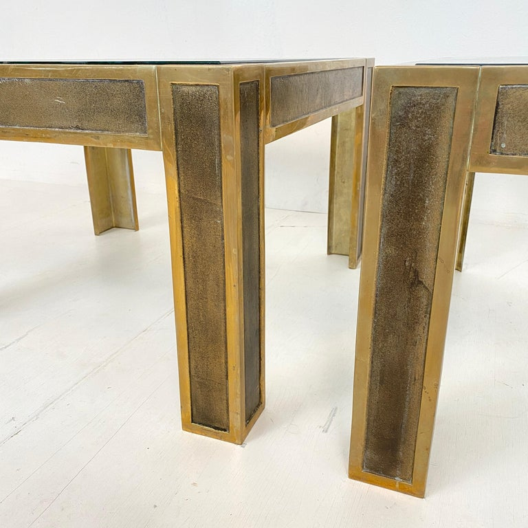 Pair of Mid-Century Brass and Glass Sofa Tables or Coffee Tables by Ghyczy For Sale 5