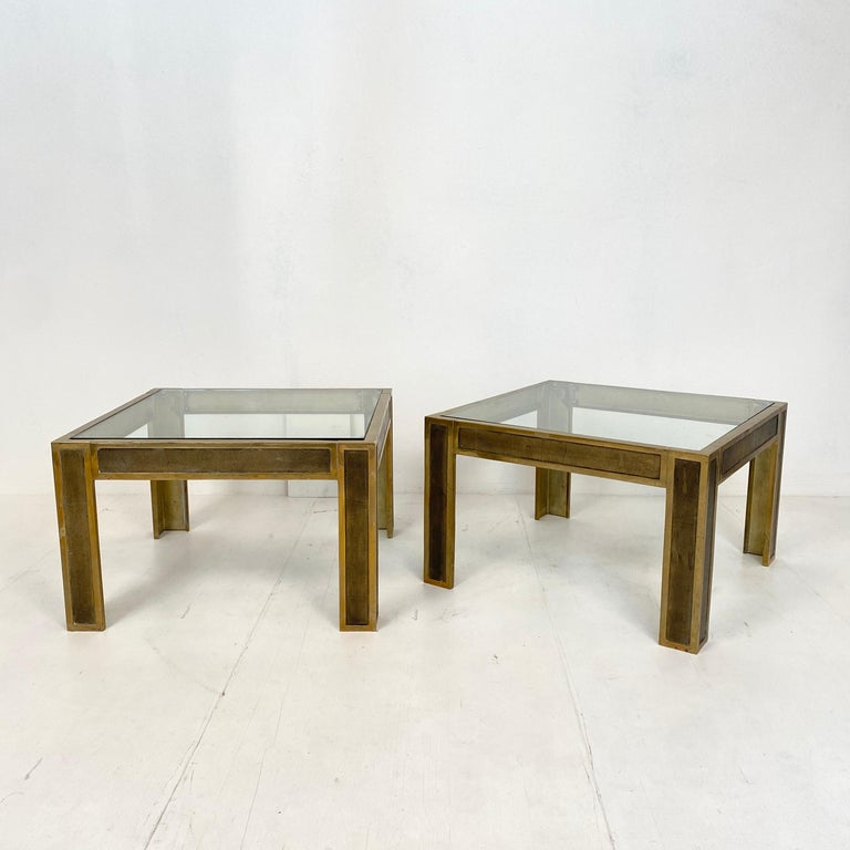 This beautiful pair of mid-century brass and glass sofa tables or coffee tables by Peter Ghyczy