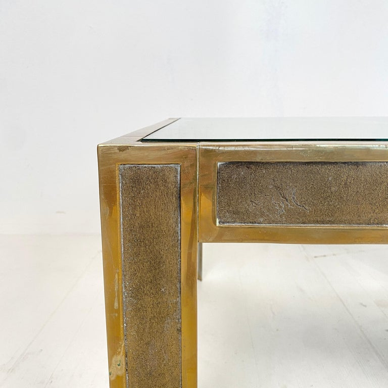 Mid-Century Modern Pair of Mid-Century Brass and Glass Sofa Tables or Coffee Tables by Ghyczy For Sale