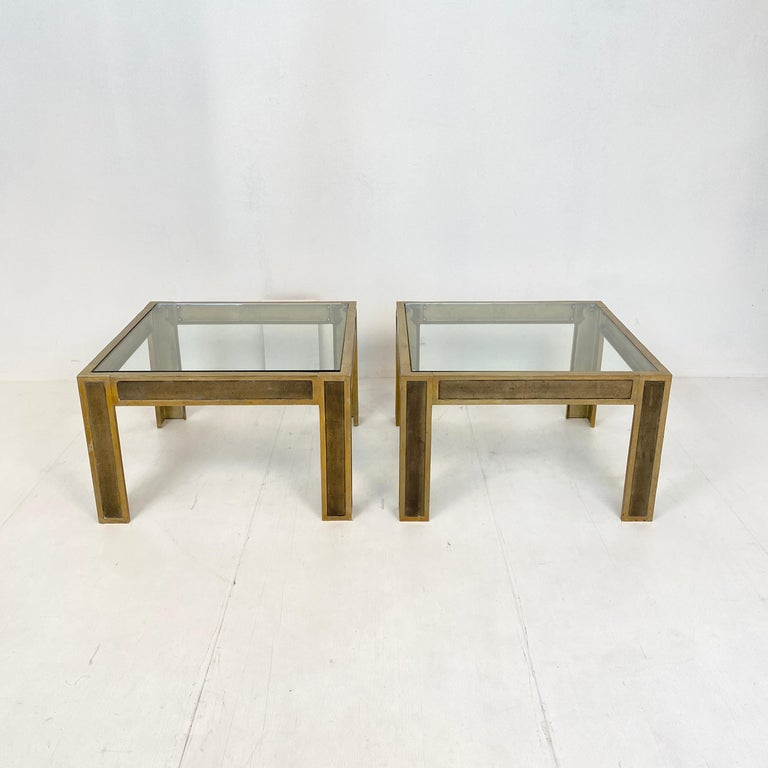 Dutch Pair of Mid-Century Brass and Glass Sofa Tables or Coffee Tables by Ghyczy For Sale