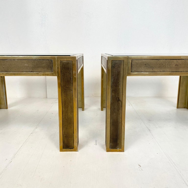 Pair of Mid-Century Brass and Glass Sofa Tables or Coffee Tables by Ghyczy In Good Condition For Sale In Berlin, DE