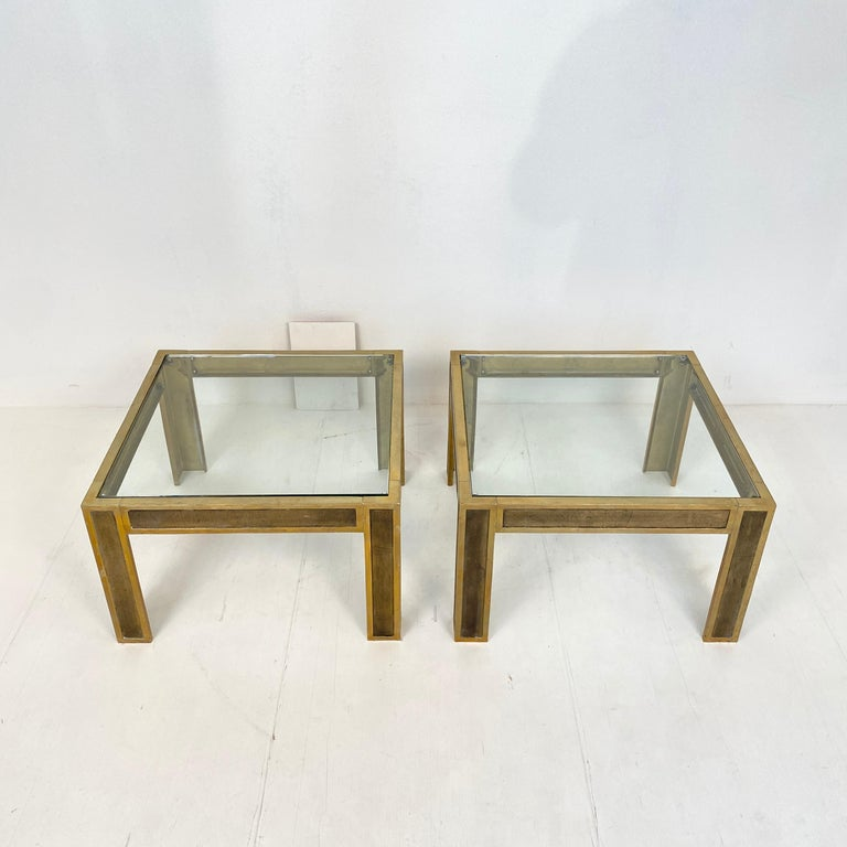 Late 20th Century Pair of Mid-Century Brass and Glass Sofa Tables or Coffee Tables by Ghyczy For Sale