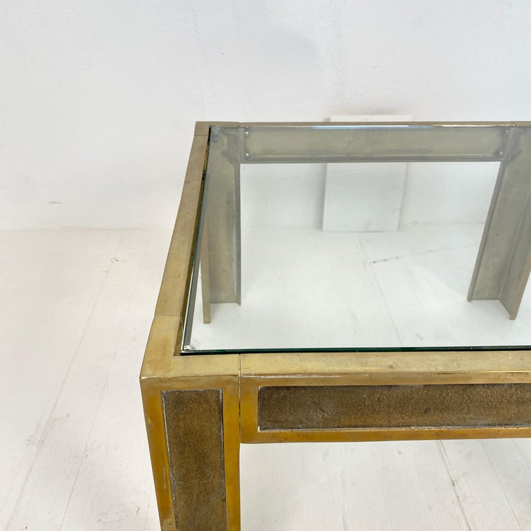 Pair of Mid-Century Brass and Glass Sofa Tables or Coffee Tables by Ghyczy For Sale 2