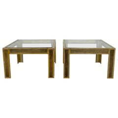 Pair of Mid-Century Brass and Glass Sofa Tables or Coffee Tables by Ghyczy