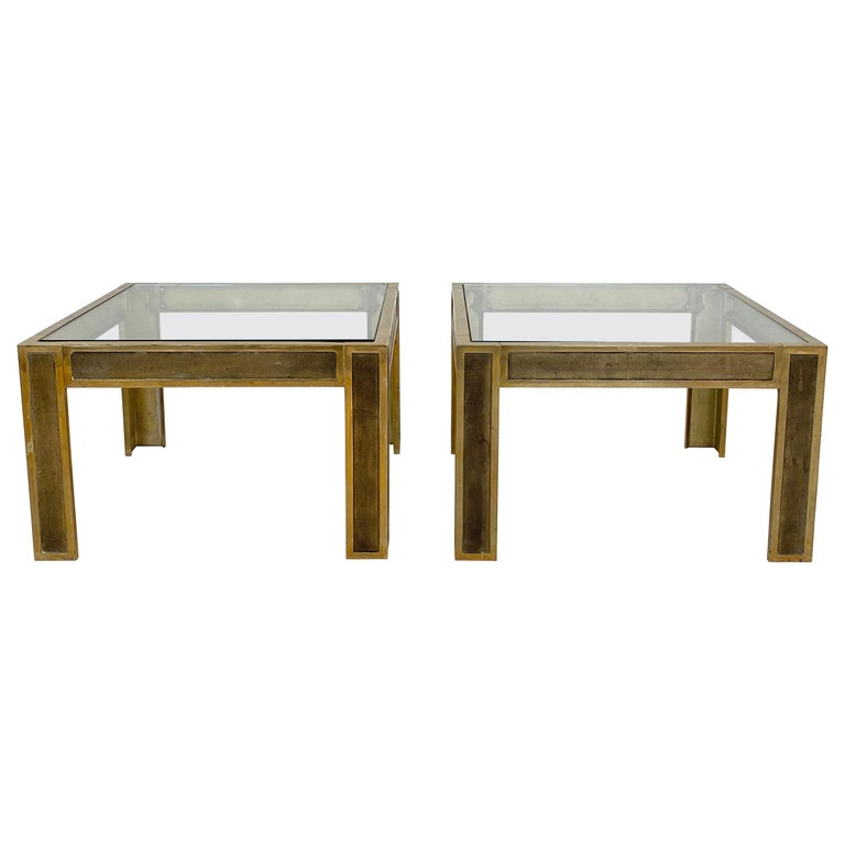 Pair of Mid-Century Brass and Glass Sofa Tables or Coffee Tables by Ghyczy For Sale