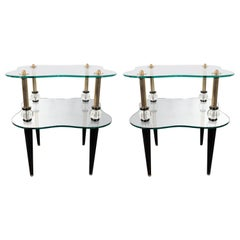 Pair of Midcentury Brass, Antique Mirror, Ebonized Walnut and Glass End Tables