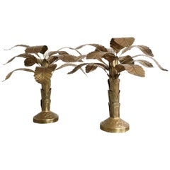 Pair of Mid Century Brass Banana Tree Table Lamps