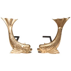 Pair of Midcentury Brass Dolphin Form Andirons
