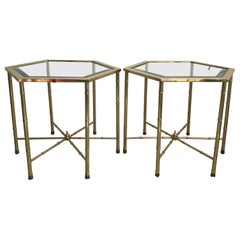 Pair of Mid Century Brass Hexagon Drinks Tables