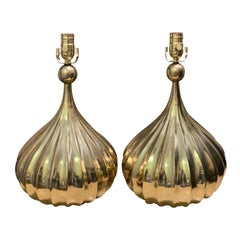Pair of Mid-20th Century Brass Lamps