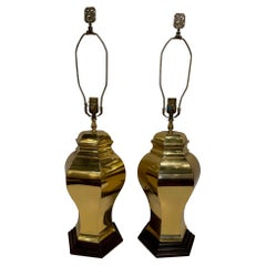 Pair of Mid-Century Brass Lamps on Wood Bases, 20th Century