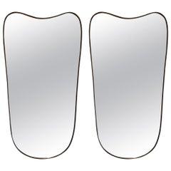Pair of Midcentury Brass Mirrors