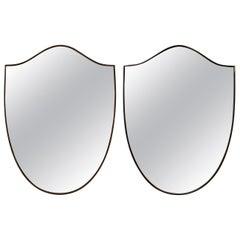 Pair of Midcentury Brass Shield Mirrors