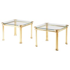 Pair of Midcentury Brass Side Tables