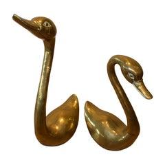 Pair of Midcentury Brass Swans