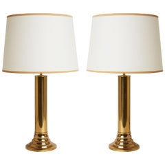 Pair of Midcentury Brass Table Lamps by Bergboms