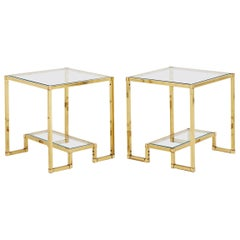 Pair of Midcentury Brass Two-Tiered Side Tables