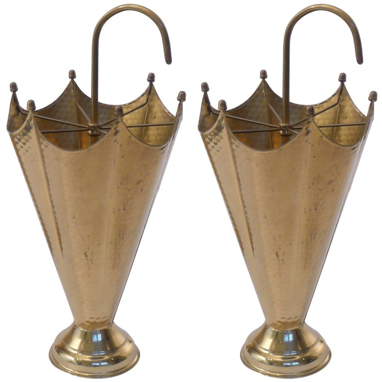Pair of Mid-Century Brass Umbrella Stands
