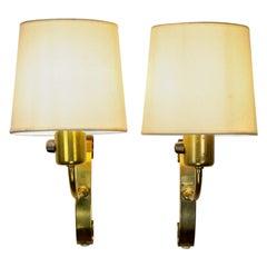 Pair of Midcentury Brass Wall Lights, Maria Lindemann, Idman Oy, Finland, 1950s
