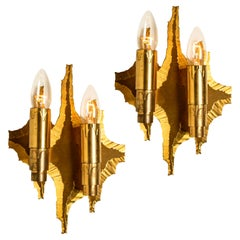 Pair of Midcentury Brass Wall Sconces, 1970