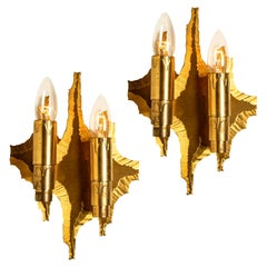 Pair of Mid-Century Brass Wall Sconces, 1970