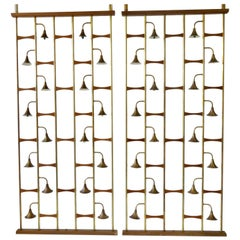 Pair of Midcentury Brass with Walnut Spring Loaded Light Up Room Dividers