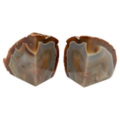 Pair of Mid Century Brazilian Agate Precious Mineral Bookends, C.1970