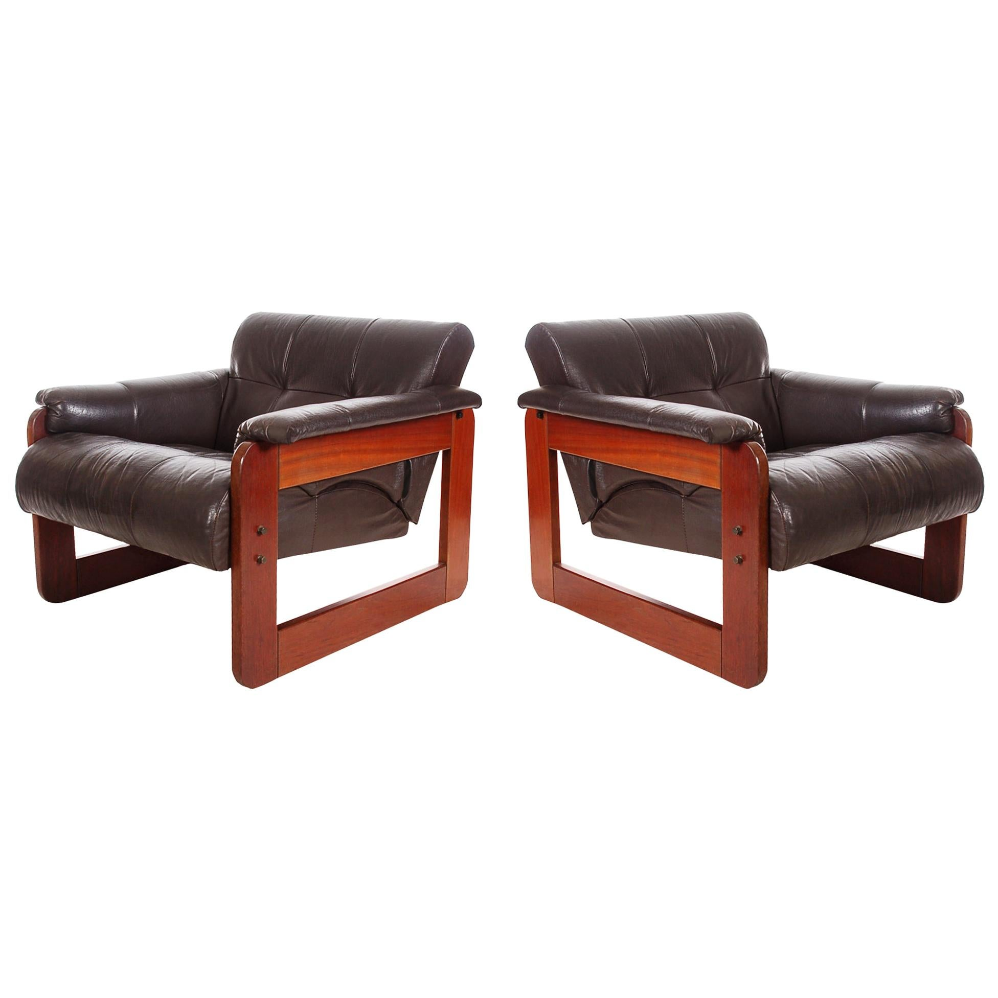 Pair of Midcentury Brazilian Modern Rosewood and Brown Leather Lounge Chairs