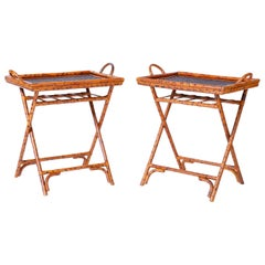 Pair of Midcentury British Colonial Style Bamboo Tray Tables