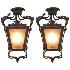 Pair of Midcentury Bronze Lanterns