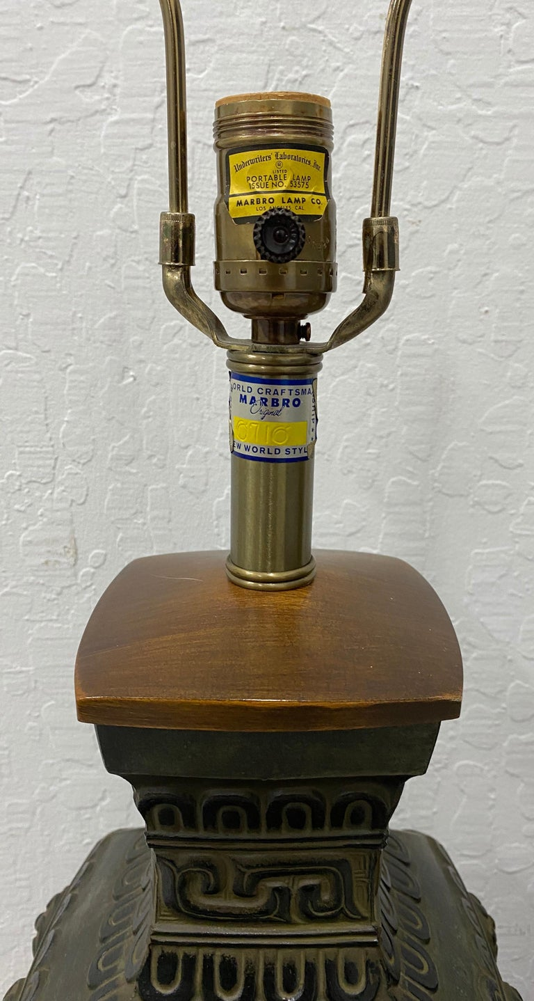 Cast Pair of Midcentury Bronze Urn Lamps by Marbro, circa 1950 For Sale
