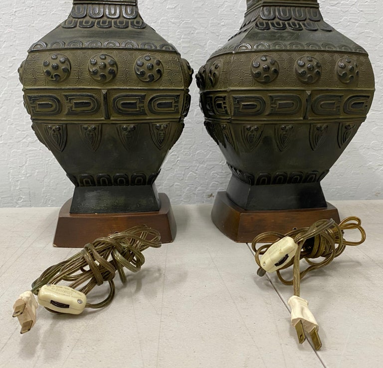 20th Century Pair of Midcentury Bronze Urn Lamps by Marbro, circa 1950 For Sale