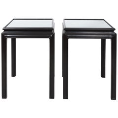 Pair of Midcentury Brown Lacquer Asian Side Tables