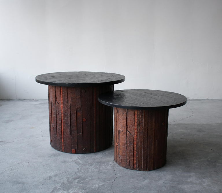 Pair of tiered Brutalist end tables by Lane for the Pueblo collection. This is a very rare and unique set. Constructed out of a molded resin with slate tops. When furniture becomes art!