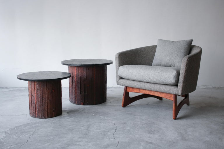 Pair of Midcentury Brutalist Slate End Tables In Good Condition In Las Vegas, NV
