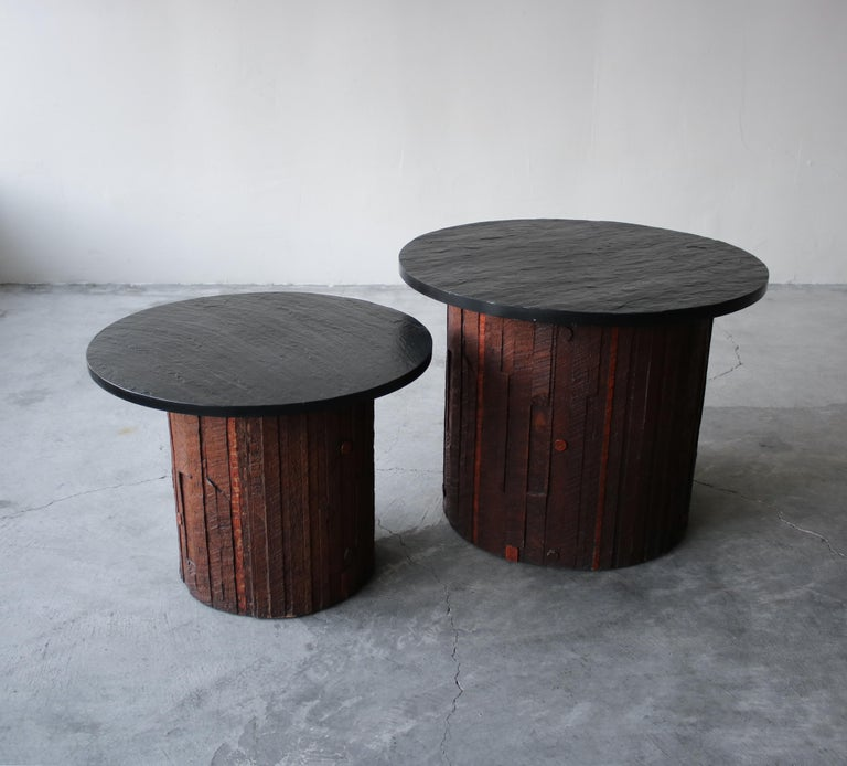20th Century Pair of Midcentury Brutalist Slate End Tables