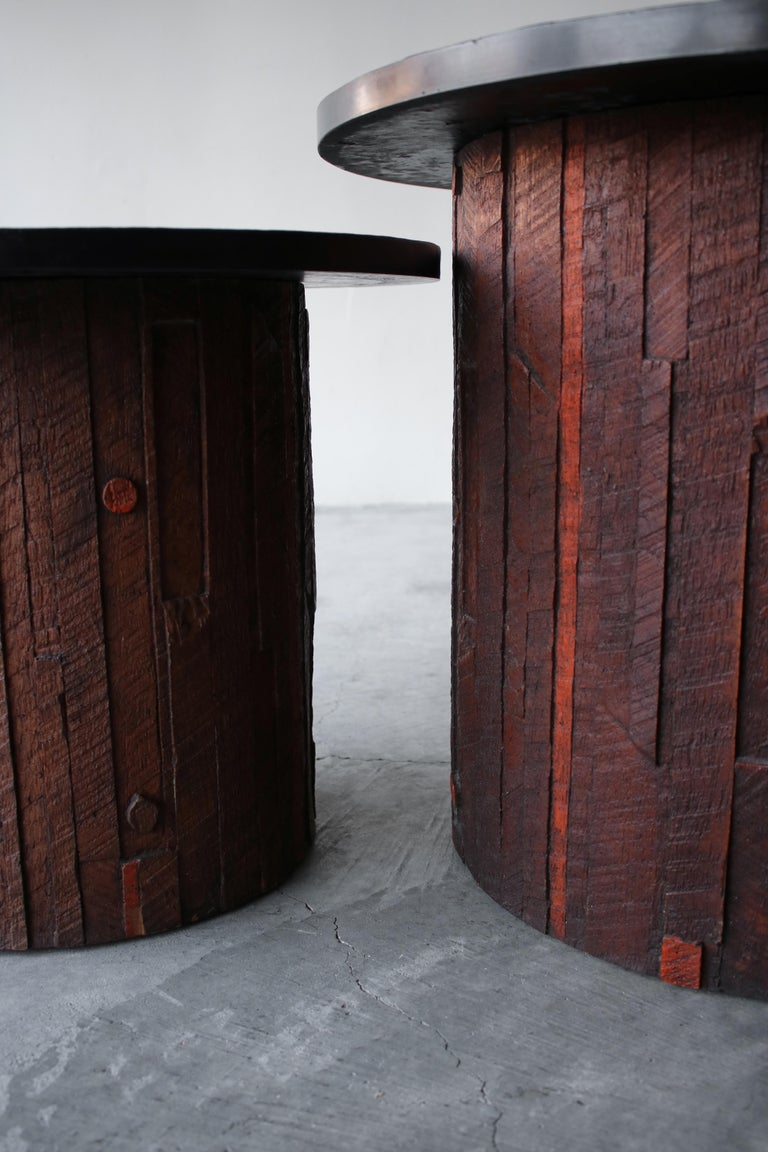 Pair of Midcentury Brutalist Slate End Tables For Sale 1