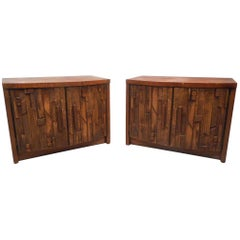 Pair of Midcentury Brutalist Style Nightstands