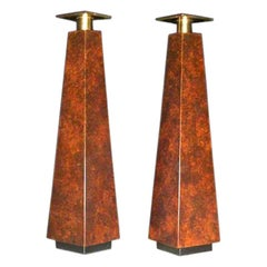 Pair of Mid  Century Burl Wood Candle Holders