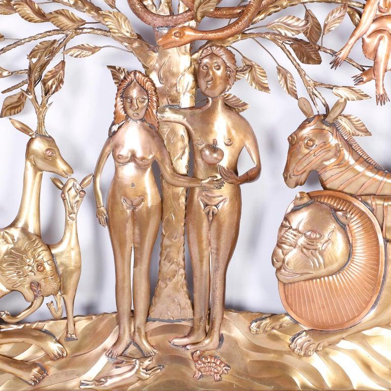 Brass Pair of Midcentury Bustamante Garden of Eden Sculptures, Priced Individually For Sale