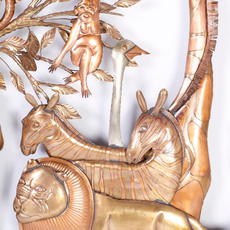 Pair of Midcentury Bustamante Garden of Eden Sculptures, Priced Individually For Sale 1