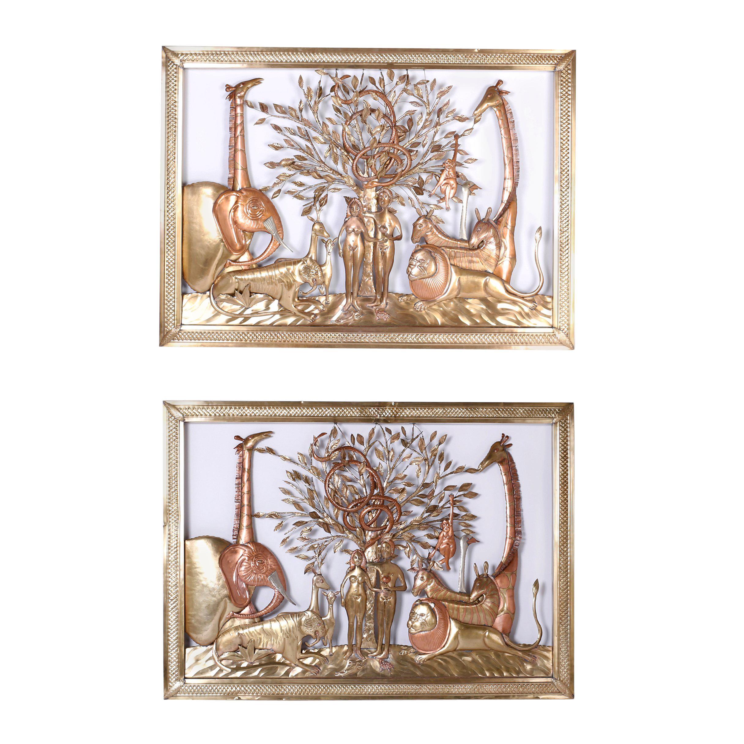 Pair of Midcentury Bustamante Garden of Eden Sculptures, Priced Individually