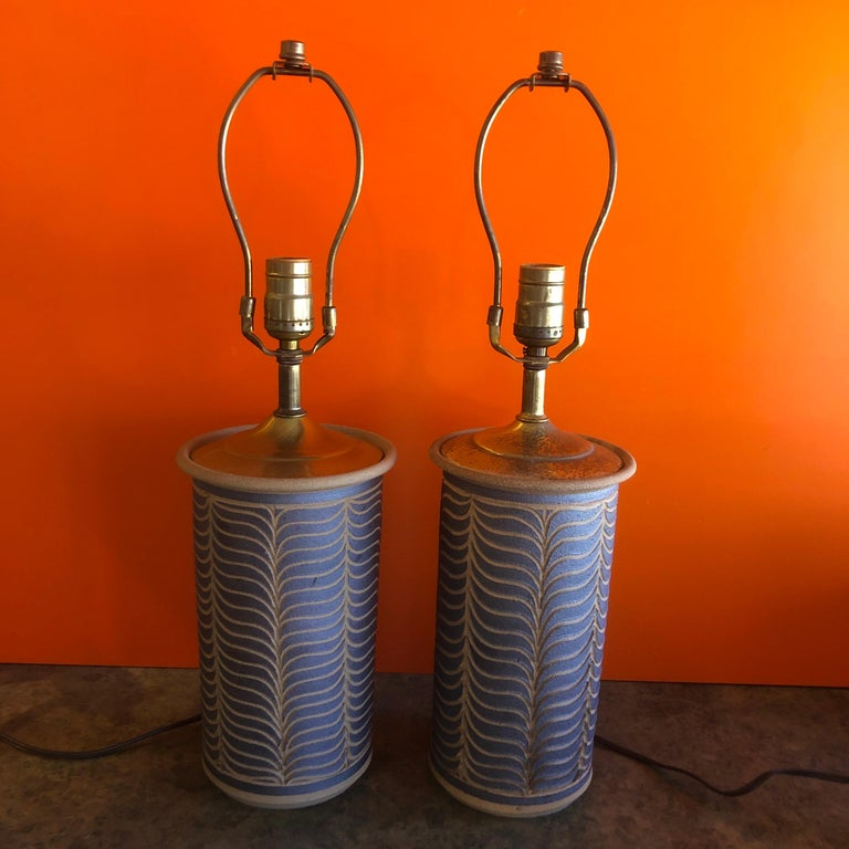 Pair of Midcentury California Studio Pottery Table Lamps For Sale 4