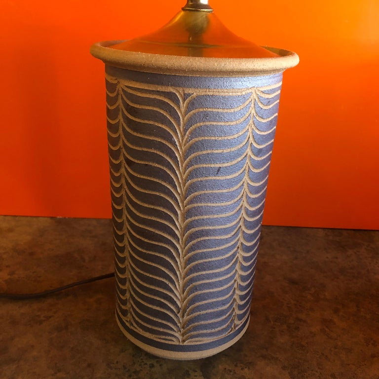 American Pair of Midcentury California Studio Pottery Table Lamps For Sale
