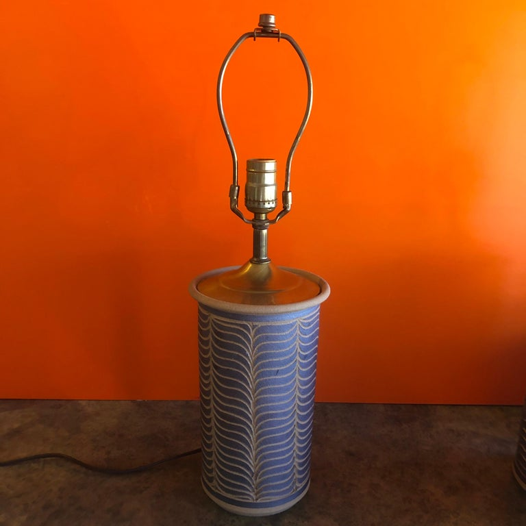 20th Century Pair of Midcentury California Studio Pottery Table Lamps For Sale