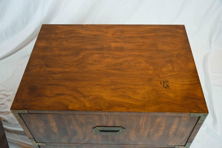 American Pair of Midcentury Campaign Style End Tables by Dixie Furniture For Sale