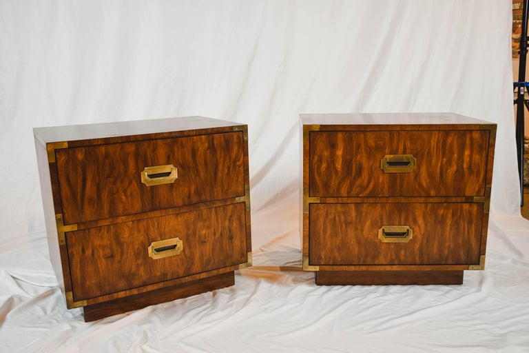Pair of Midcentury Campaign Style End Tables by Dixie Furniture For Sale 1