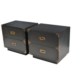 Pair of Midcentury Campaign Style Nightstands by Dixie